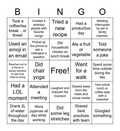 Virtual Work Bingo Card