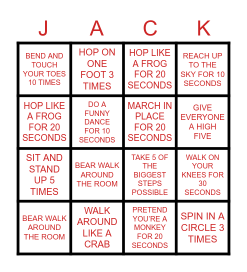 MOVEMENT BINGO Card