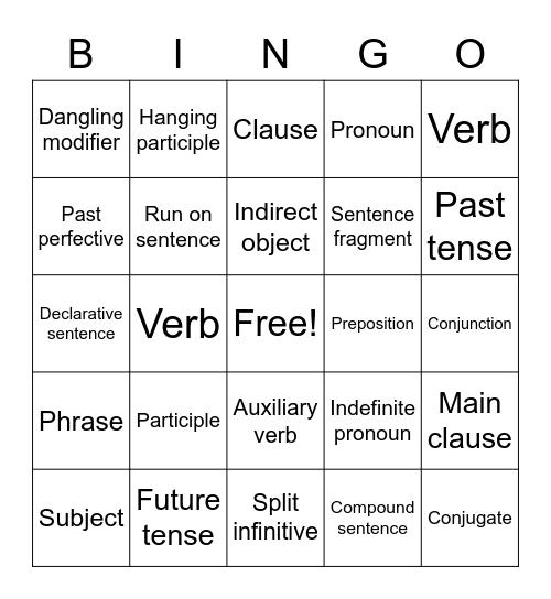 Grammer Bingo Card
