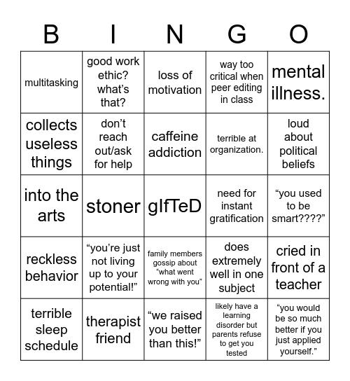 gifted burnout Bingo Card