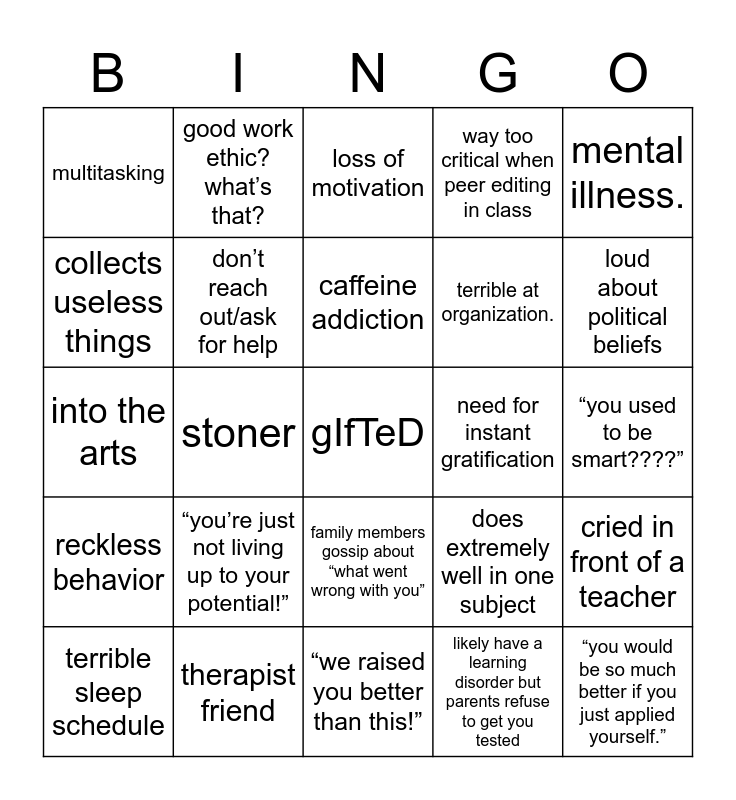 gifted burnout Bingo Card