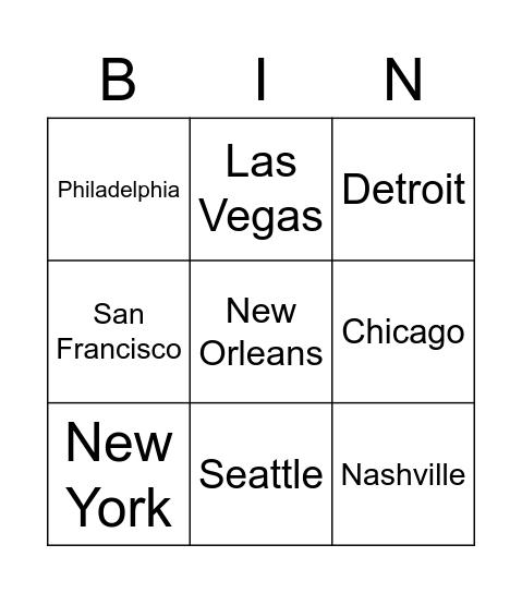 City Bingo Test Bingo Card