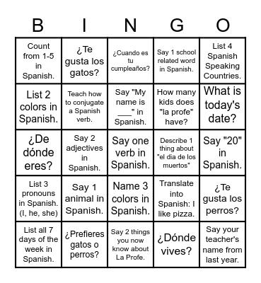 """""""El Bingo de La Profe"""" Bingo Card"""