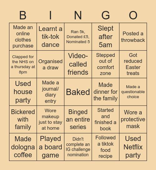 Lockdown Bingo Card
