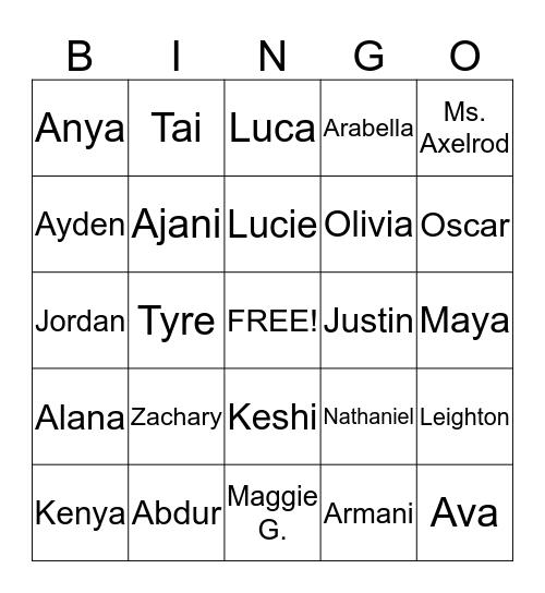 Room 228 Bingo Card