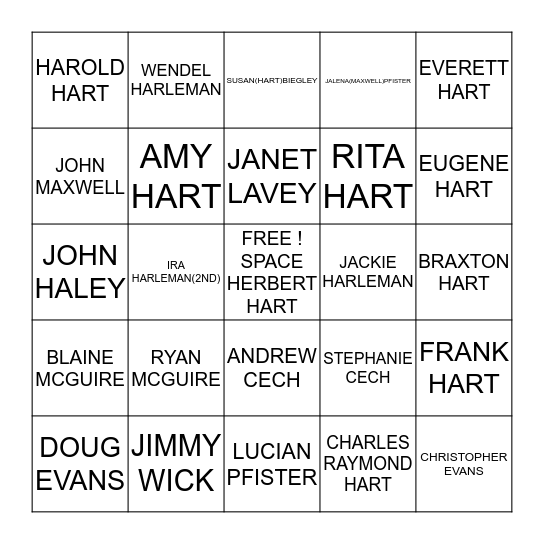 HART FAMILY BINGO Card