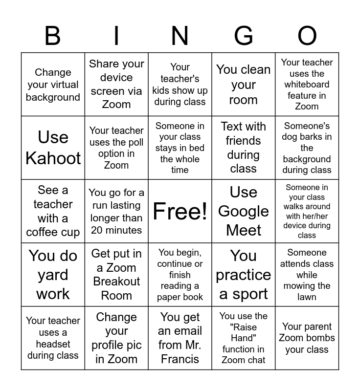 Distance Learning Bingo! Bingo Card