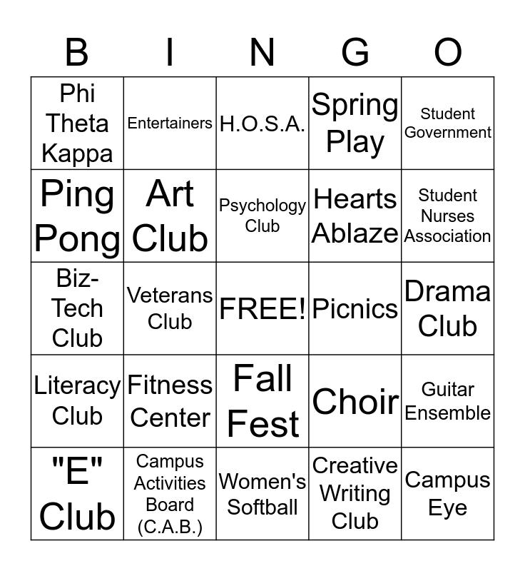 CC STUDENT LIFE BINGO Card