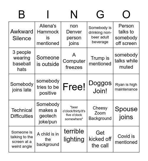 Mine Waste Bingo Card