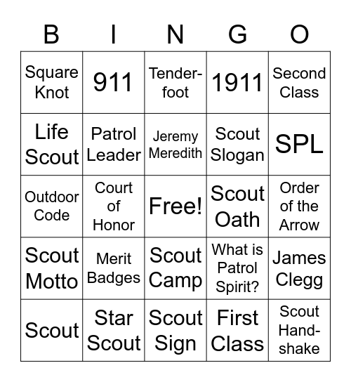 Scouting Adventure Bingo Card
