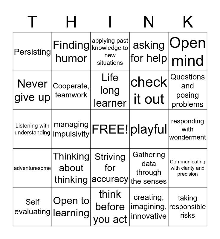 Habits of Mind Bingo Card