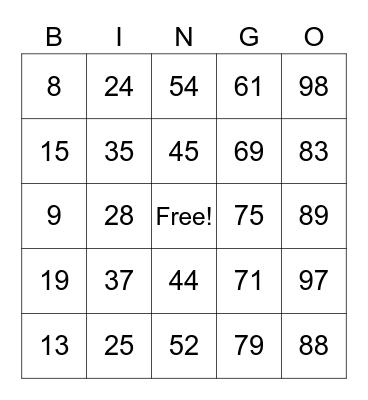 Family Bingo Card