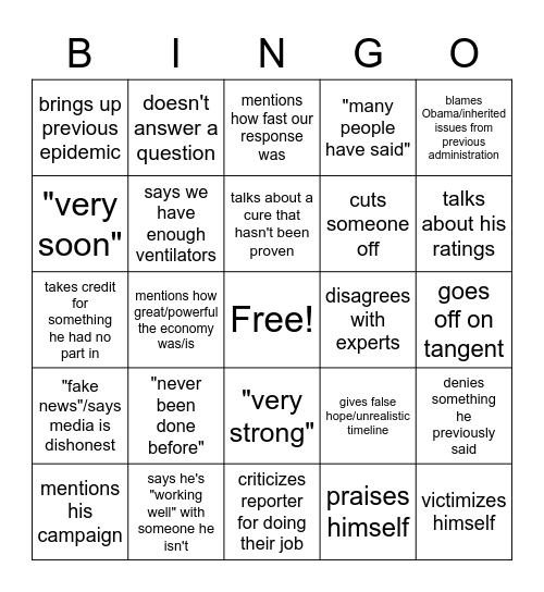 Covid briefing bingo Card