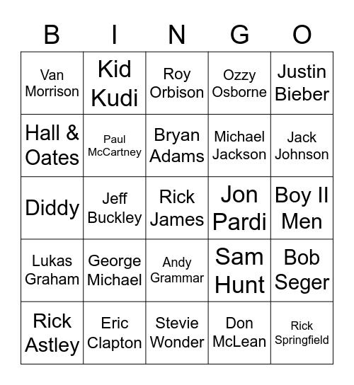 It's Raining Men (Boys) Bingo Card