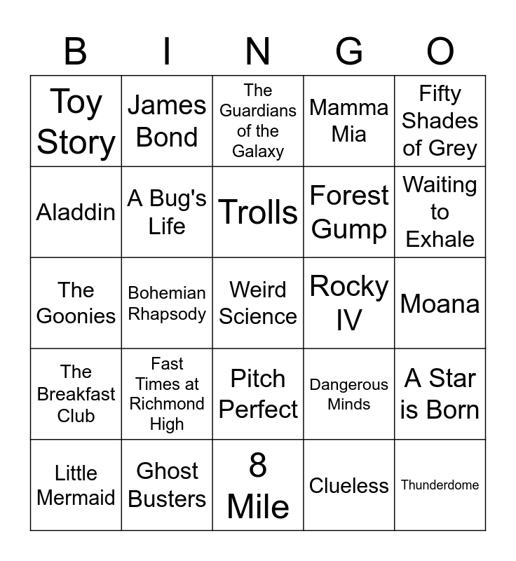 Don't you wish you could go to the MOVIES? Bingo Card