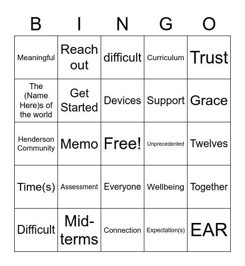 Meeting Bingo Card