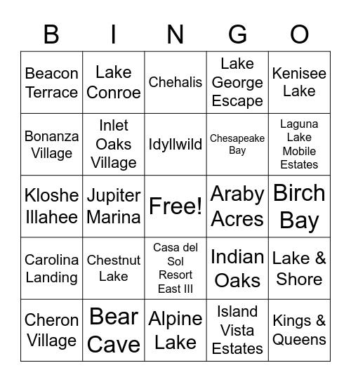 RV Bingo! Bingo Card