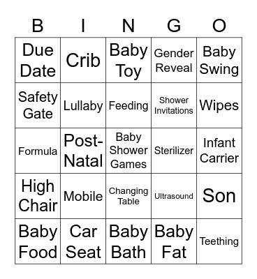 VIRTUAL BABY SHOWER BINGO Card