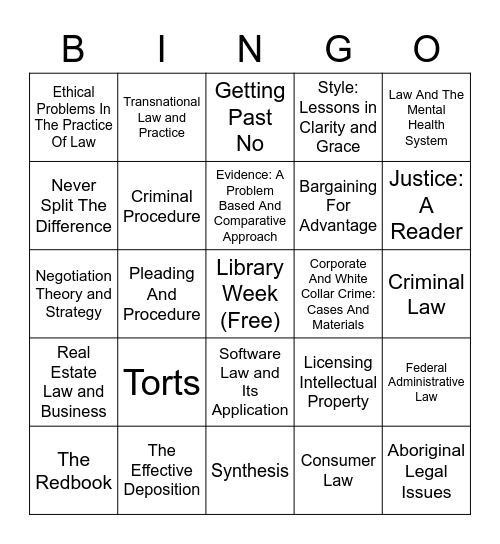 Virtual Course Reserve Bingo Card