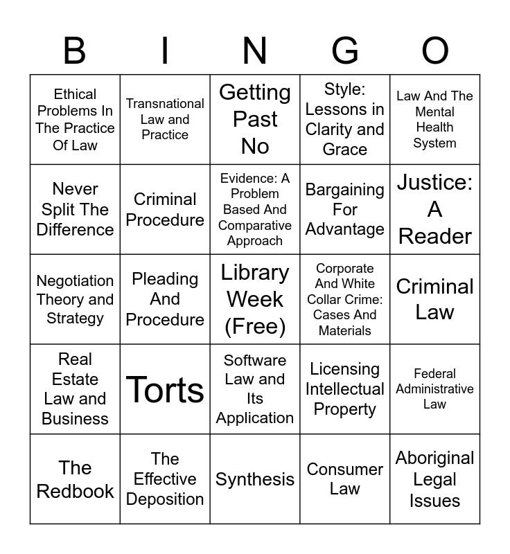 Virtual Course Reserve Bingo Card
