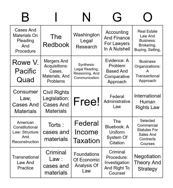 Course Reserve Bingo! Bingo Card