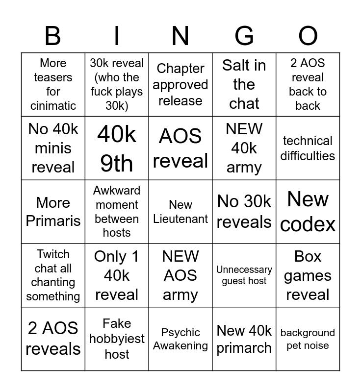 Warhammer Tv Bingo Card