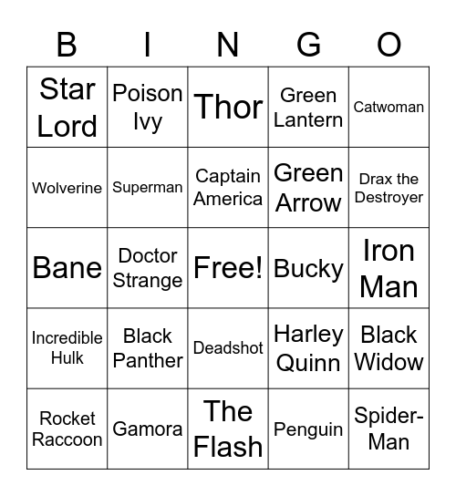Heroes and Villains Bingo Card