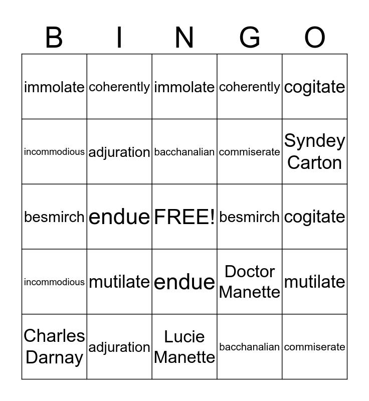Vocabulary #8 Bingo Card