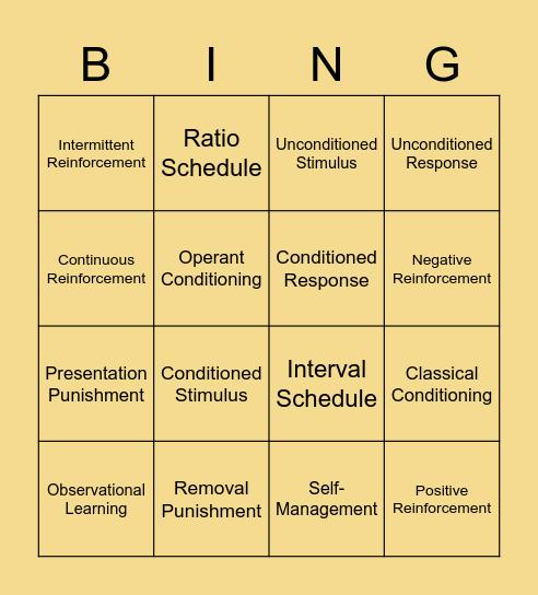Behavioral Views of Learning- Board 4 Bingo Card