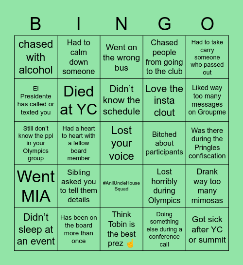 KCYLNA BOARD Bingo Card