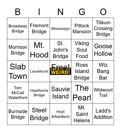 Portland, OR Bingo Card