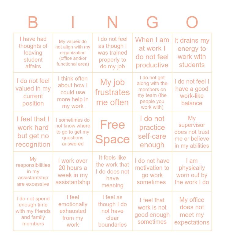 Burnout Bingo Card