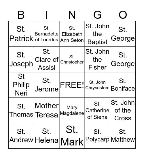 All Saints' Day Bingo Card