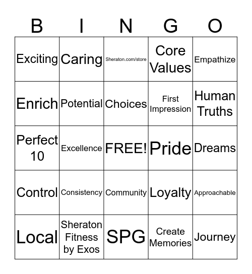 Sheraton Bingo-game 19 Bingo Card