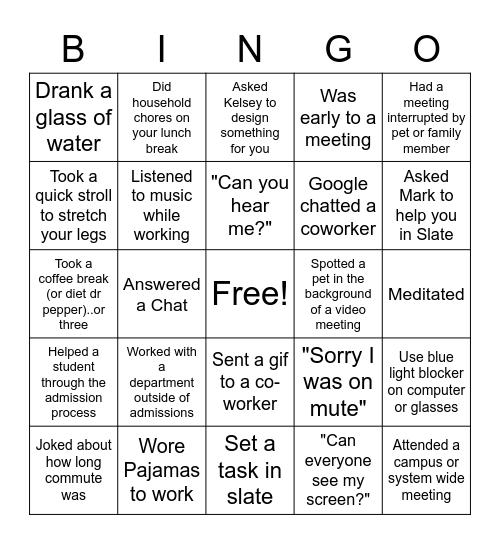 Virtual Office Bingo Card