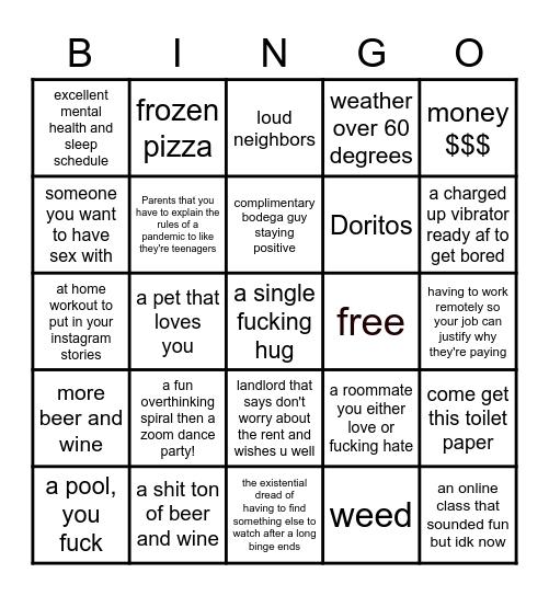Quarantine 2020 Bingo Card