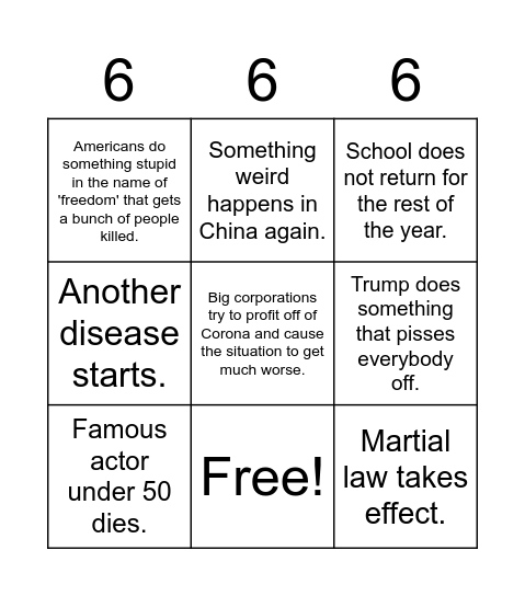 Apocalypse Bingo Card