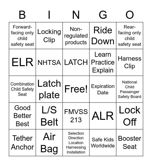 Child Passenger Safety Technician Bingo Card