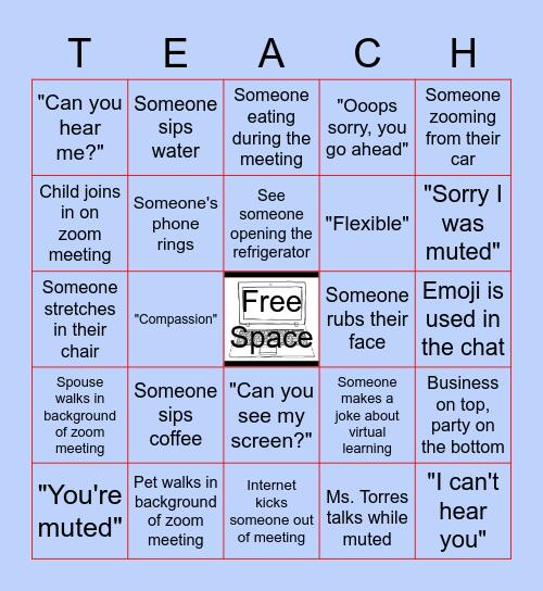 Virtual Meeting Bingo Card