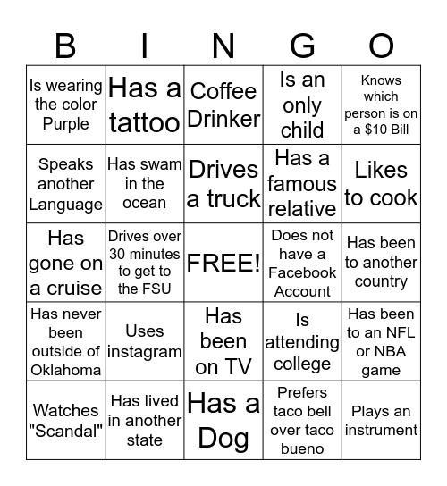 """Get to Know Your Teammates"" Bingo Card"