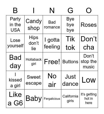 2000s Bingo Card