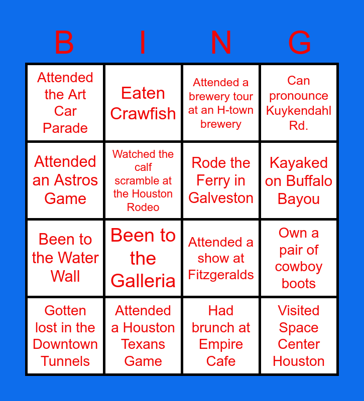 H-Town Edition Bingo Card