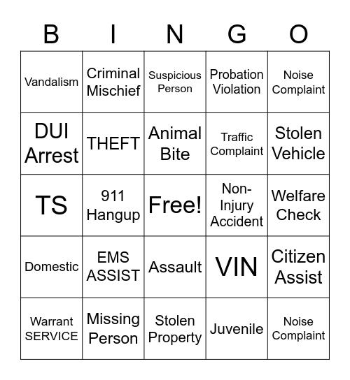 Dispatch Bingo Card