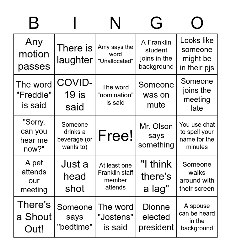 Franklin PTO BINGO Card