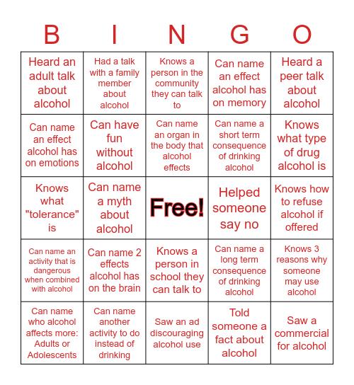 Alcohol Awareness Bingo Card