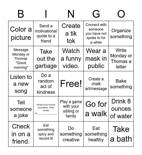 Monday Thomas Safe at Home Bingo!!! Bingo Card