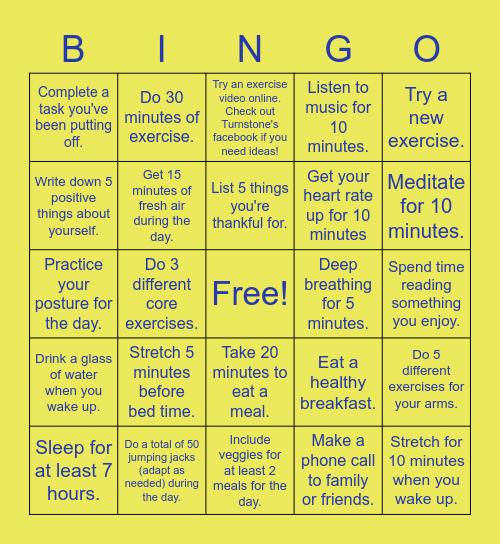 Turnstone Wellness Bingo Card