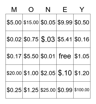 Money Money Money Bingo Card