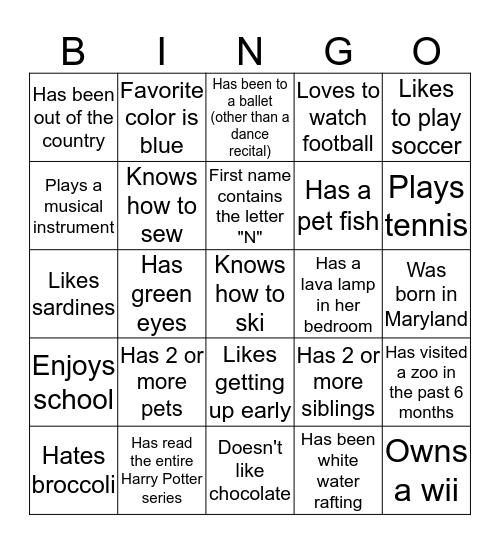 Friendship Bingo Card