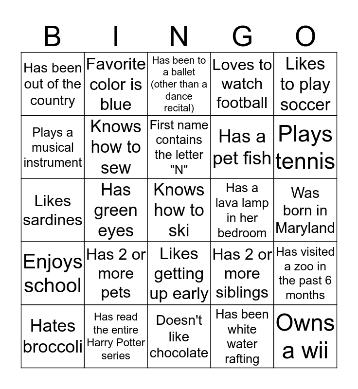 Friendship Bingo Card